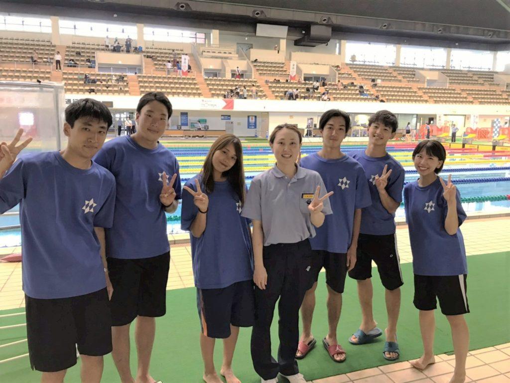 左から、道津、八塚、宮内、元ジャパンオープン優勝者打越選手、長、室谷、千原